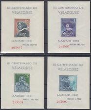 VELAZQUEZ HOJAS BLOQUE ** 1344/1347 SIN DENTAR - AÑO 1961 - MISMA NUMERACION