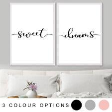 SWEET DREAMS Inspirational Bedroom Decor Quote Set Art Print Poster A4 A3 A2 A1