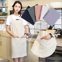 Women's Cotton Linen Cross Back Apron Japanese Housework Wrap Pinafore Dress US