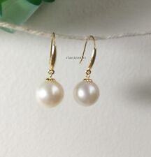 Genuine 8.9mm circle freshwater pearls in 18K yellow gold dangle earrings White