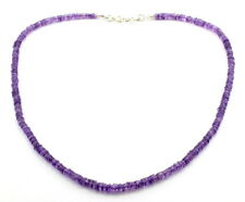 Necklace natural purple amethyst gemstone beaded 925 solid sterling silver 18 gm