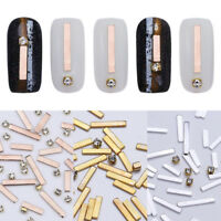 Nail Rivets Studs Rhinestone Rose Gold Silver Metal Alloy Nail Art 3D Decoration