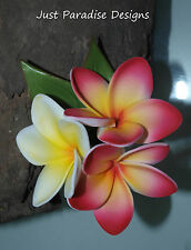 Silk Flower Wedding Pin Corsage - Frangipani white and hot pink - Artificial
