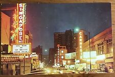 Postcard Chicago IL - Nighttime View Along Rush Street - The Singapore Pit