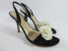 Kate Spade Black Satin Slingback Flower Sandals Heels Pumps Womens Size 10 B
