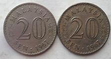 Malaysia 20 sen 1967 coin 2 pcs