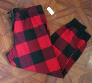 Old Navy Flannel Jogger Pajama Pants Red Buffalo Plaid Large NEW NWT