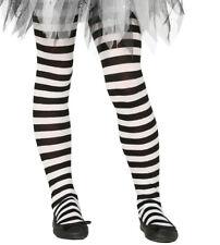 Kids Girls Black & White Striped Halloween Witch Fancy Dress Costume Tights NEW
