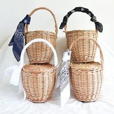 artisanal bambou panier sac / Tote / en osier rond avec couvercle