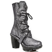 NEW ROCK NEOTR005-S19S Silver PYTHON RAW ROCK PUNK LADIES LEATHER BOOTS