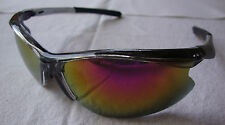 Sport Sunglasses Clear Half Frame Yellow Mirror Lens Womens Mens Outdoor Eyewear