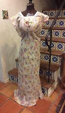 Vintage 30's Novelty Print Ladies In The Garden Bias Cut Batiste Night Gown S-M