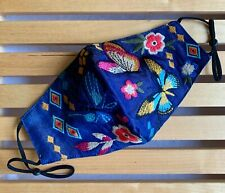 Johnny Was Face Mask Floral Embroidered Light Denim Blue Adjustable Straps