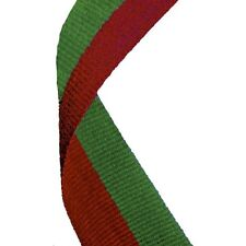 Medal Ribbon / Lanyard Green and Red with Gold clip 22mm wide