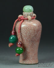 Chinese Red Crackle Glazed Porcelain Snuff Bottle, Meiping Form, Jadeite Stopper
