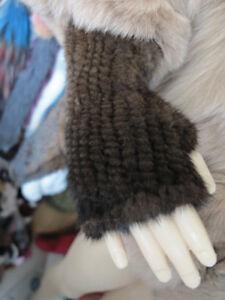 New braid 100% real mink furgloves / fur cover / fur wrap brown elastic