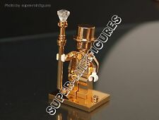 MR. GOLD Minifigures series 10 ( lego custom) full chrome gold stand,hands