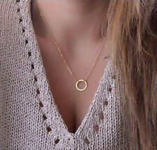 Eur Women Minimalist Circle Pendants Gold Chain Choker Collar Necklace Jewellery