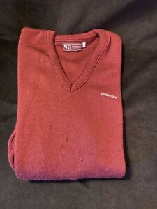 Vintage Frontier Airlines Employee Wool V Neck Sweater XL Mens Burgundy