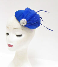Silver Cobalt Blue Feather Fascinator Pillbox Hair Races Hat Vtg Headpiece 2236