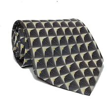 "Beverly Hills  POLO Club Men Dress Tie 3 3/4"" wide 58"" long Gray White Print"