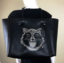 COACH Shopping Tote 39 Polished Pebbled Leather W/ Raccoon #F16513