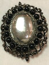 Cabachon Black Stone Filigree Brooch Pin Art Noveau Hi End Mirror Silver