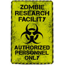 Zombie Research Facility Metal Tin Sign Dead Gift Novelty Office Bar Poster
