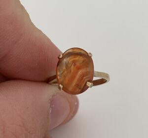9ct Gold Agate Vintage Roman Seal Ring, 9k 375