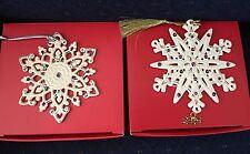 Lenox 2015 Annual Gemmed & Platinum Snowflake Ornaments Gold Crystal Set/2 Nib