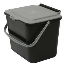 Black & Silver Grey 5L Kitchen Compost Caddy/Food Recycling Waste Bin – 5 Litre
