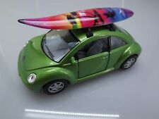 "Collectible Die Cast GREEN Volkswagen ""NEW BEETLE"" VW 1:32 Scale SURFBOARD"