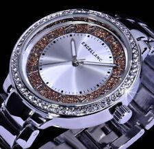 Excellanc Uhr Damenuhr Armbanduhr Glitzer Silber braun Farben Metall Strass