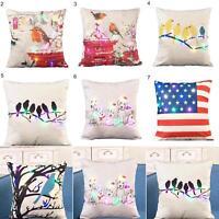 EE_ EG_ Bird Print Pillow Case LED Light Linen Waist Cushion Cover Home Decor Da