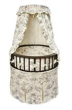 Badger Basket Black Elegance Round Baby Bassinet, Black Toile Bedding 915