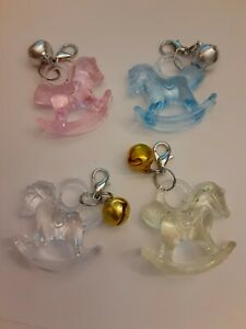 PINK / BLUE / CLEAR / YELLOW BABY SHOWER ROCKING HORSE CHARM FAVORS ZIPPER PULLS