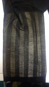 Tall Original Vintage Shadow Stripe Black American Pantyhose Tights rare 1970s