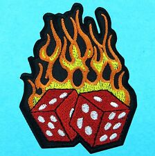 FLAMING DICE Hot Fire Motorcycle Biker Embroidered Iron Sew On Patch Casino Game
