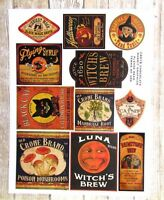 Vintage Style Halloween Potion Bottle Label Stickers Uncut Set of 11 Color