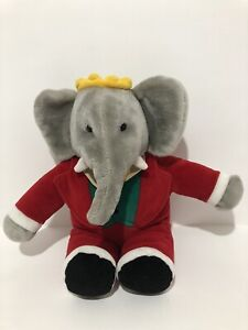 Babar Vintage Gund 1988 Elephant Plush Toy In Red Suit 36 cm
