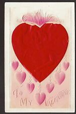 c1910 emb.woman in red Heart Valentine's Day greetings postcard