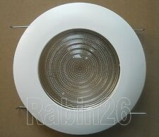 """5"""" INCH RECESSED CAN LIGHT METAL SHOWER TRIM CLEAR LENS WHITE"""