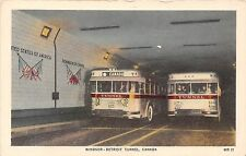Canada & Michigan postcard Windsor -Detroit Tunnel bus