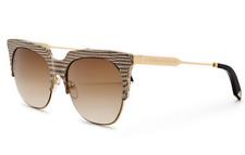 VICTORIA BECKHAM Square Sunglasses VBS111 C02 Gold Metal Brown Snake Gradient