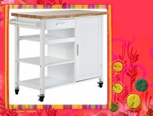 Kitchen Cart Kitchen Trolley White Wooden Cabinet Solid Wood Benchtop SKT814