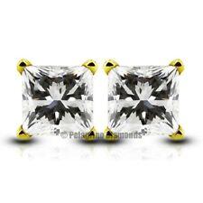1.05ct H-VS2 Ex Princess Natural Diamonds 14k Gold 4-Prong Basket Earrings 4.5mm
