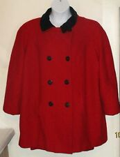 Lane Bryant Peacoat misses 22 24 red black wool Double Breasted Made in USA J113