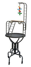 """67"""" Elegant Design Play Ground Metal Long Neck Ladder Toy Hook Tray Parrot Stand"""