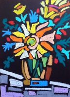 HINKLE  Flowers vase abstract folk modern art painting cubism fauvism oil pastel