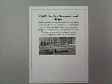 1962 Pontiac TEMPEST cost/dealer retail window sticker pricing car + options '62